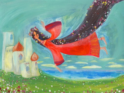 A fairy flying over a field with a palace in the background